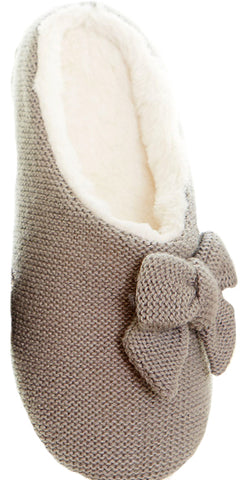 Gingerlily Gwen Knit Bow Slippers Light Grey