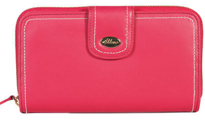 ALLORA Harley Large Zip Clutch Wallet Coral Pink
