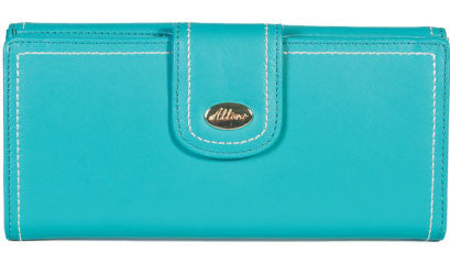 ALLORA Harley Slim Leather Wallet Turquoise Blue