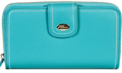 ALLORA Harley Large Zip Clutch Wallet Turquoise Blue