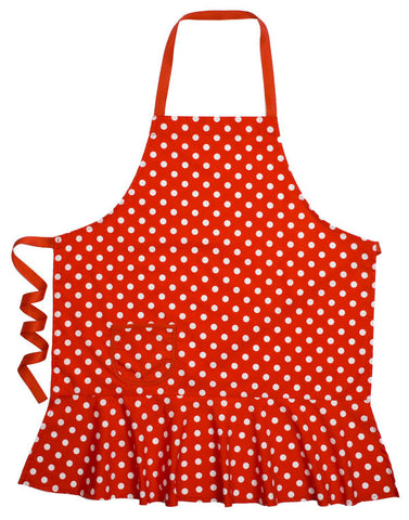 Red White Dot Hostess Apron