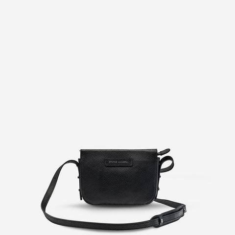 STATUS ANXIETY IN HER COMMAND LEATHER CROSSBODY BAG BLACK