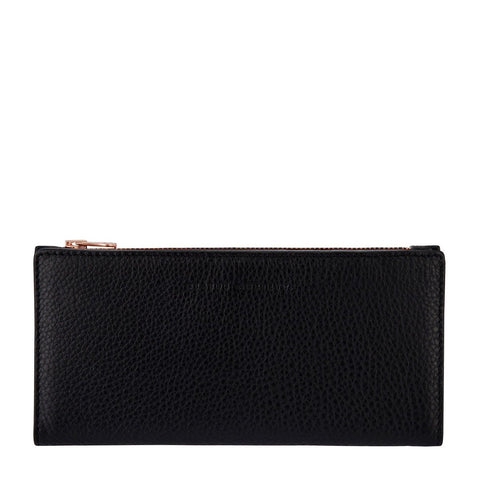 STATUS ANXIETY IN THE BEGINNING LEATHER ZIP WALLET BLACK