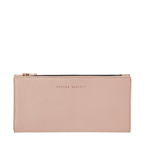 STATUS ANXIETY IN THE BEGINNING LEATHER ZIP WALLET DUSTY PINK