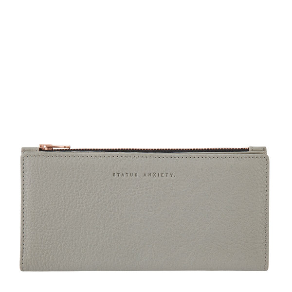 STATUS ANXIETY IN THE BEGINNING LEATHER ZIP WALLET LIGHT GREY