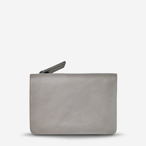 STATUS ANXIETY IS NOW BETTER LEATHER SNAP CLOSURE WALLET LIGHT GREY