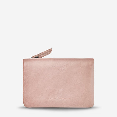 STATUS ANXIETY IS NOW BETTER LEATHER SNAP CLOSURE WALLET DUSTY PINK