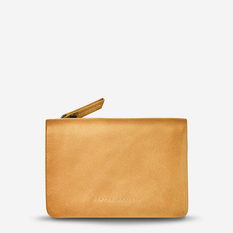 STATUS ANXIETY IS NOW BETTER LEATHER SNAP CLOSURE WALLET TAN