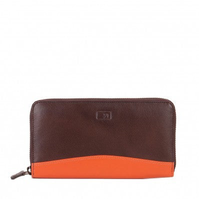 ZOOMLITE Leather RFID Isabelle Ziparound Wallet Chocolate