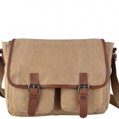 ZOOMLITE Canvas Jackson Casual Messenger Olive Khaki Brown