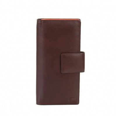 ZOOMLITE Leather RFID Jetset Large Card/ Travel Wallet Chocolate