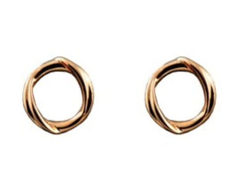 ICHU Circle Twist Rose Gold Stud Earrings