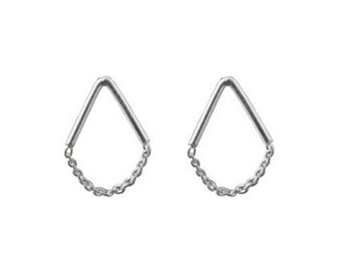 ICHU Tiny Triangle Chain Sterling Silver Drop Earrings