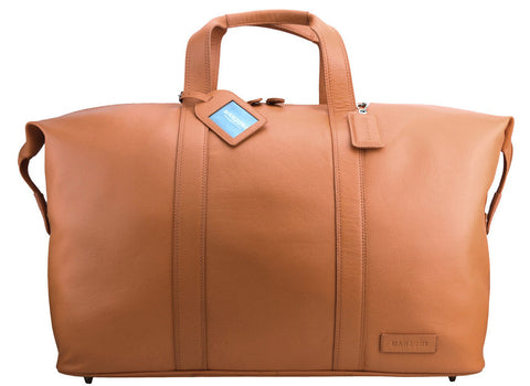 MANZONI Leather Overnight Bag L14 Tan with FREE WALLET