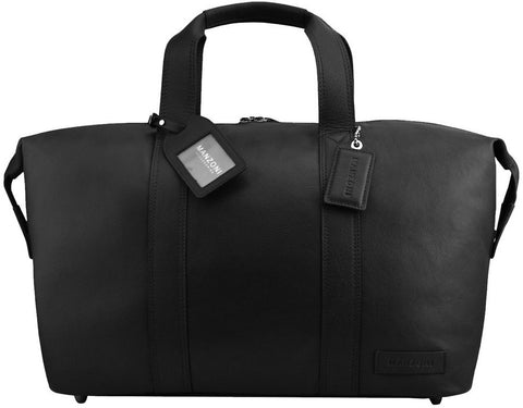 MANZONI Leather Overnight Bag L4 Black with FREE WALLET