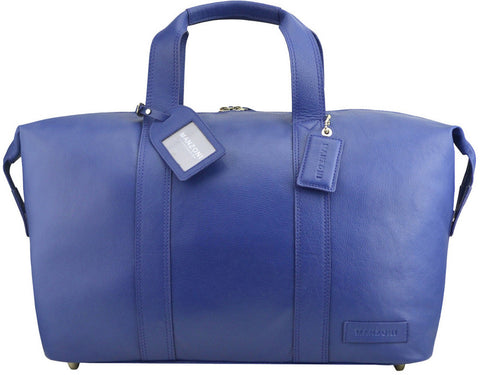 MANZONI Leather Overnight Bag L4 Navy Blue with FREE WALLET