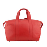 MANZONI Leather Overnight Bag L4 Red with FREE WALLET