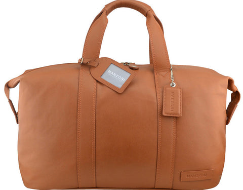 MANZONI Leather Overnight Bag L4 Tan with FREE WALLET