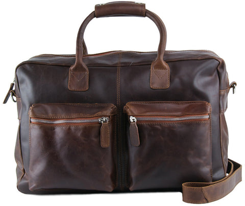 MANZONI Leather Distressed Overnight Bag L75 Tan with FREE WALLET