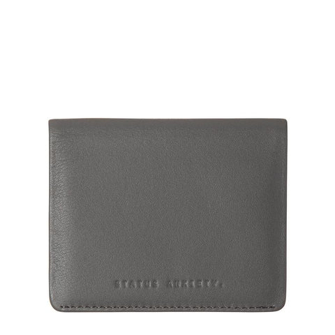 STATUS ANXIETY LENNEN LEATHER SLIM WALLET SLATE GREY