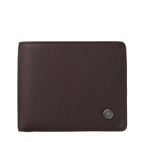 STATUS ANXIETY LEONARD LEATHER TRI-FOLD WALLET CHOCOLATE BROWN