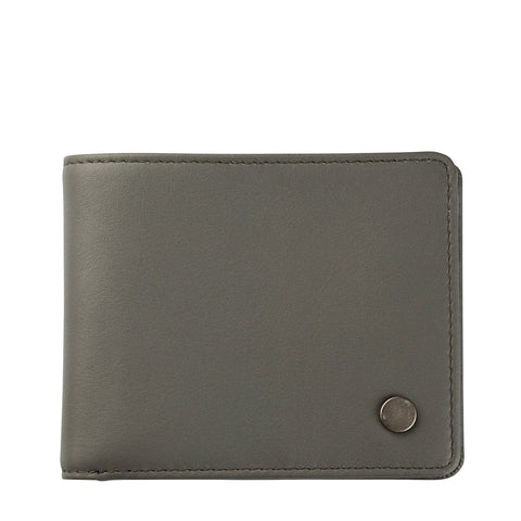 STATUS ANXIETY LEONARD LEATHER TRI-FOLD WALLET SLATE GREY