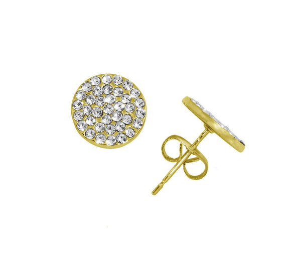 LISA FREEDE Pave Disc Earrings Gold
