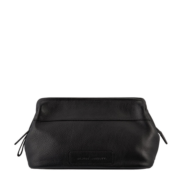 STATUS ANXIETY LIABILITY LEATHER TOILETRIES BAG BLACK