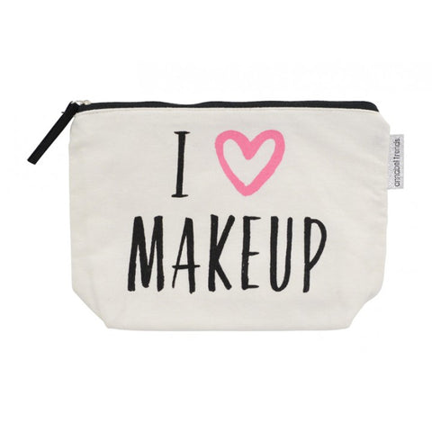 I Love Makeup Canvas Cosmetic Bag