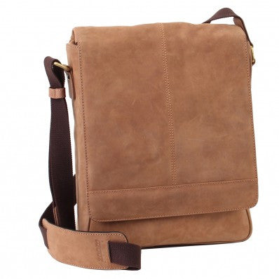 ZOOMLITE Vintage Leather Manhattan Messenger Bag Camel