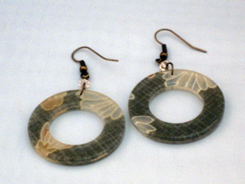 MEGUMI Japanese Resin Green Doughnut Earrings