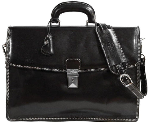 FLOTO Milano Leather Briefcase Black