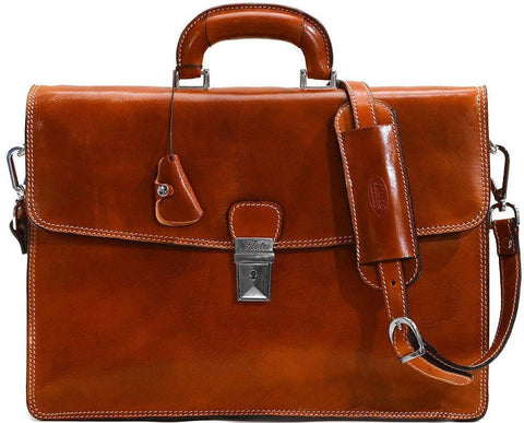 FLOTO Milano Leather Briefcase Olive Honey Brown