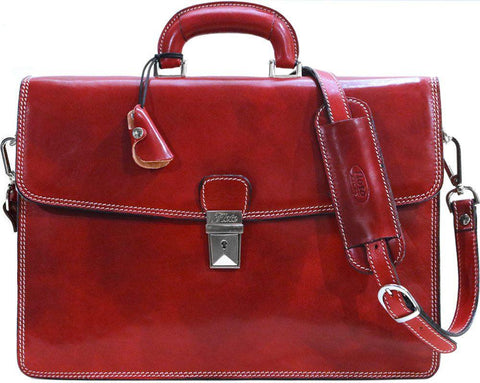 FLOTO Milano Leather Briefcase Tuscan Red