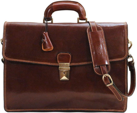 FLOTO Milano Leather Briefcase Vecchio Brown