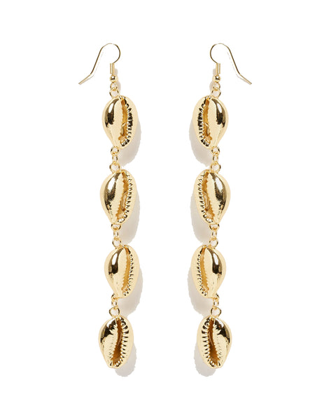 MIZ CASA & CO Cowrie Drop Earrings Gold