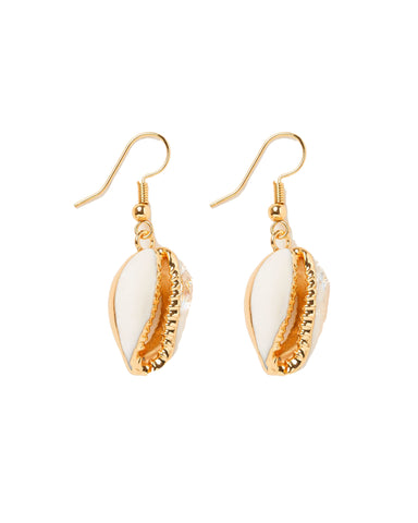 MIZ CASA & CO Cowrie Earrings Gold White