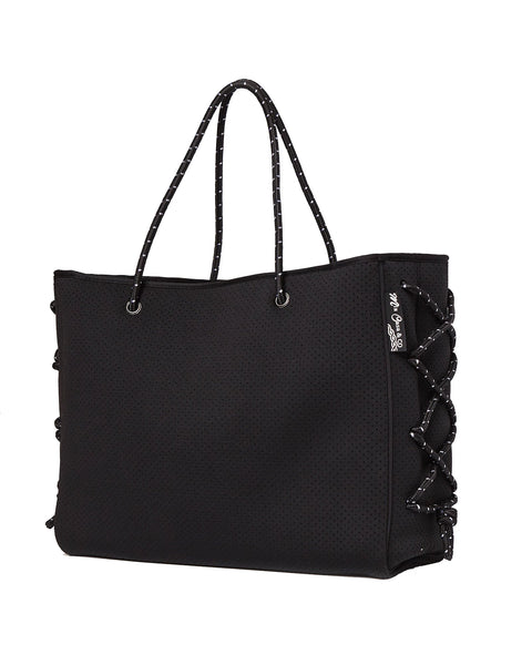 MIZ CASA & CO Harper Neoprene Black Tote Bag