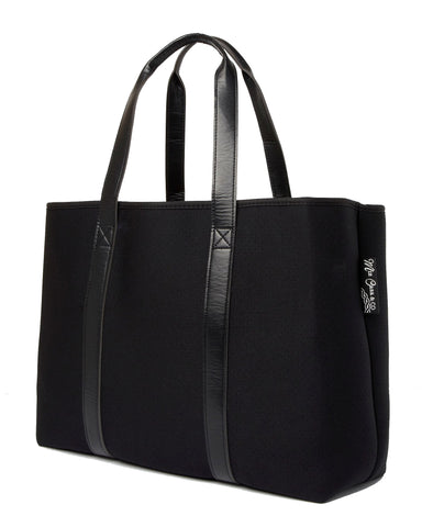 MIZ CASA & CO Tabitha Neoprene Black Tote Bag