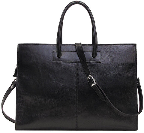 FLOTO Monteverde Leather Satchel Bag Black