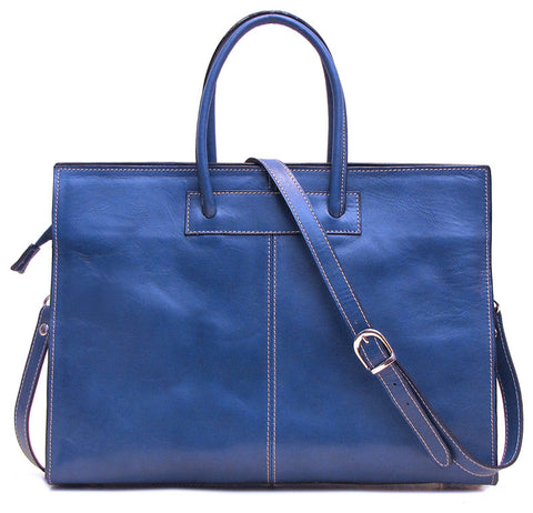 FLOTO Monteverde Leather Satchel Bag Blue