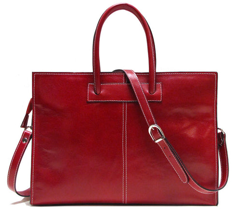 FLOTO Monteverde Leather Satchel Bag Red