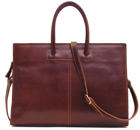 FLOTO Monteverde Leather Satchel Bag Vecchio Brown