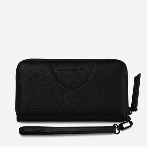 STATUS ANXIETY MOVING ON LEATHER ZIP AROUND WALLET BLACK