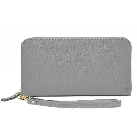 MIGHTY PURSE Leather Zipper Wallet Grey