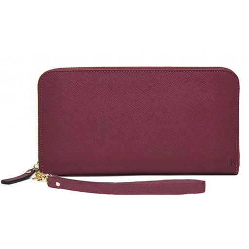 MIGHTY PURSE Leather Zipper Wallet Berry