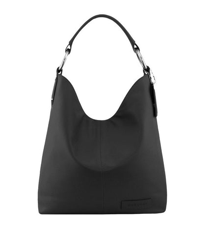 Manzoni Leather Hobo Bag N11 Black with FREE WALLET