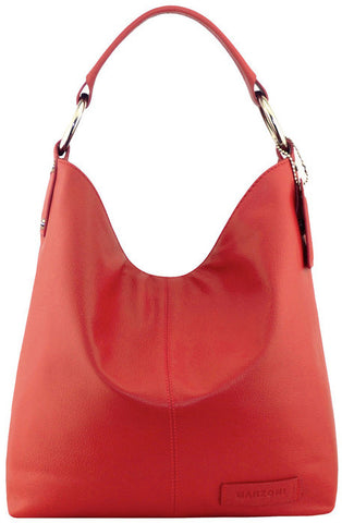 Manzoni Leather Hobo Bag N11 Red with FREE WALLET