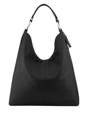 Manzoni Leather Hobo Shoulder Bag (Style N16) Black with FREE WALLET