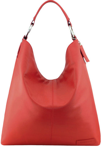 Manzoni Leather Hobo Shoulder Bag (Style N16) Red with FREE WALLET